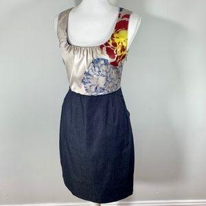 ELIE TAHARI Silk Denim skirt sheath career Dress